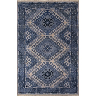 Hand-Knotted Tribal Blue Area Rug (9' X 12')