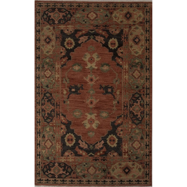 "Hand-Knotted Oriental Orange Area Rug (9' X 12') - 8'10"" x 11'9"""