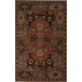 Hand-Knotted Oriental Pattern Phantom/Muted clay Wool (9x12) Area Rug