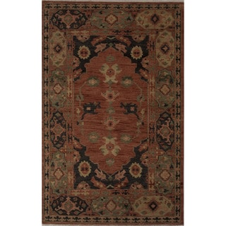 Hand-Knotted Oriental Pattern Phantom/Muted clay Wool (8x10) Area Rug