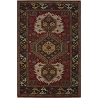 Hand-Knotted Tribal Red Area Rug (9' X 12') - 9' x 12'