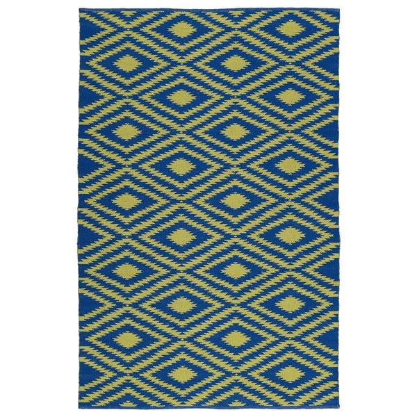 Indoor/Outdoor Laguna Navy and Yellow Ikat Flat-Weave Rug - 8' x 10'