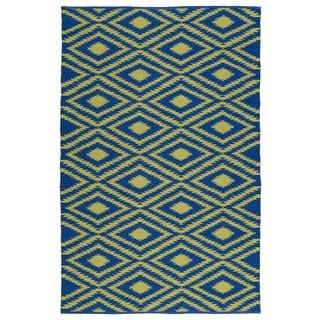 Indoor/Outdoor Laguna Navy and Yellow Ikat Flat-Weave Rug (3'0 x 5'0)