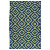 Indoor/Outdoor Laguna Navy and Yellow Ikat Flat-Weave Rug - 3' x 5'