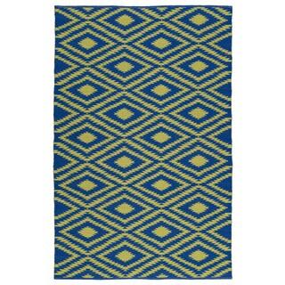 Indoor/Outdoor Laguna Navy and Yellow Ikat Flat-Weave Rug (2'0 x 3'0)