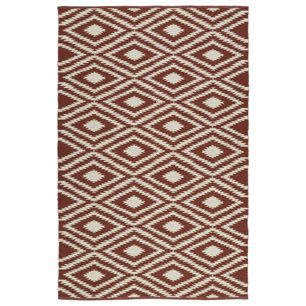 Indoor/Outdoor Laguna Brick and Ivory Ikat Flat-Weave Rug - 9' x 12'