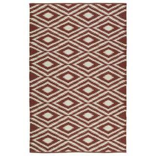 Indoor Outdoor Laguna Brick And Ivory Ikat Flat Weave Rug 5 0