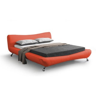 Joyce Red Leather Contemporary Platform Bed