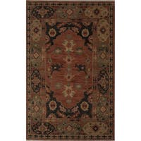 "Hand-Knotted Oriental Orange Area Rug (5'6"" X 8') - 5'6"" x 8'"