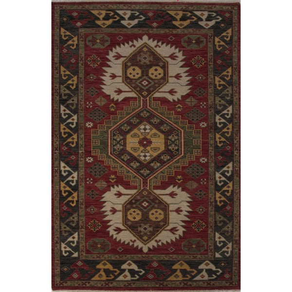 """Hand-Knotted Tribal Red Area Rug (5'6"""" X 8') - 6x8"""