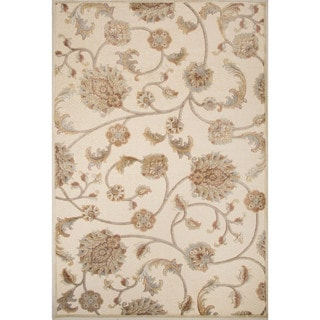 Machine Made Floral Pattern Oyster white/Tidal foam Chenille (5.3x7.8) Area Rug