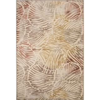 Machine Made Abstract Pattern Multi Chenille (5.3x7.8) Area Rug