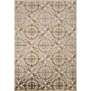 Machine Made Geometric Pattern Ivory/White Chenille (5.3x7.8) Area Rug