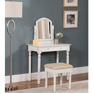 K&B V1036 White Finish Vanity Table with Mirror