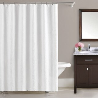 LaMont Home Majestic Cotton White Floral Brocade Shower Curtain