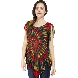 Handmade Women's Rasta Tie-dye Summer Top with Fringe (Nepal)