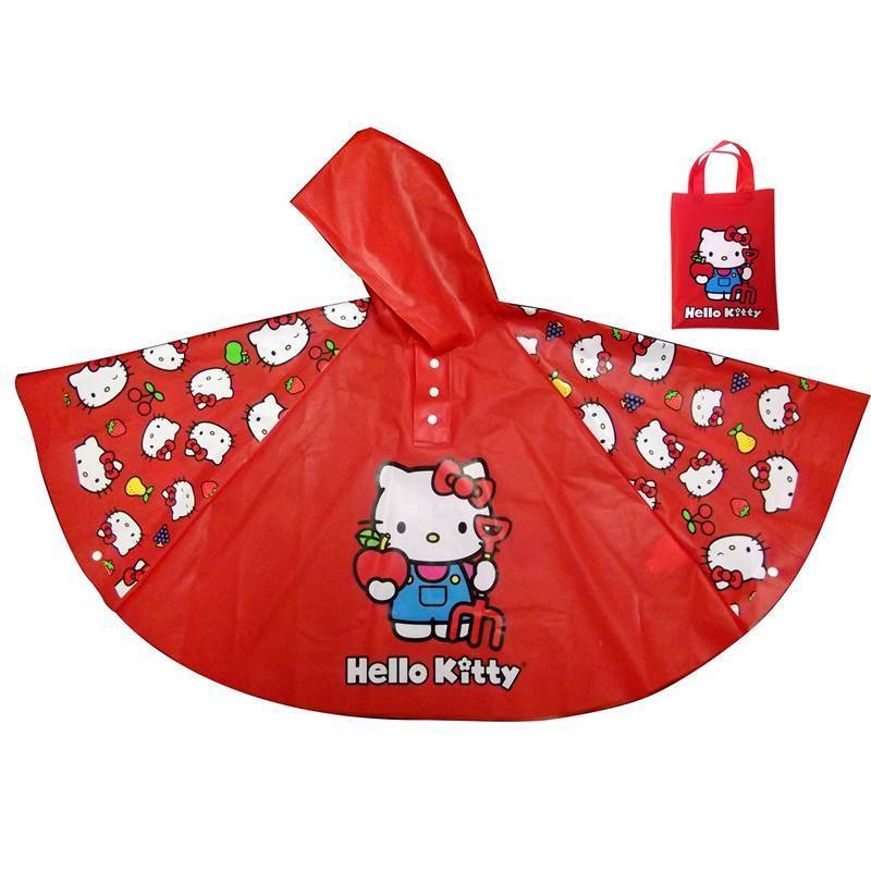 Hello Kitty Poncho Rain Coat, Girl's, Red, Size 29 inches...