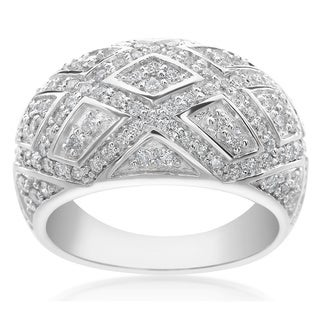 SummerRose 14k White Gold 1 1/10ct TDW Diamond Dome Ring