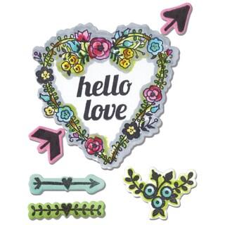 Sizzix Framelits Dies 7/Pkg W/Stamps Hello Love