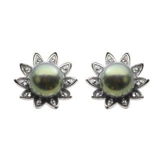 Sterling Silver Dyed Black Freshwater Pearl and White Topaz Sunburst Flower Earrings (7.5-8 mm)