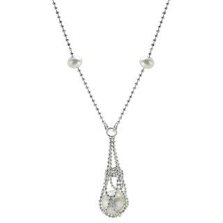 Sterling Silver White Freshwater Pearl Lace Necklace (4-8.5 mm)
