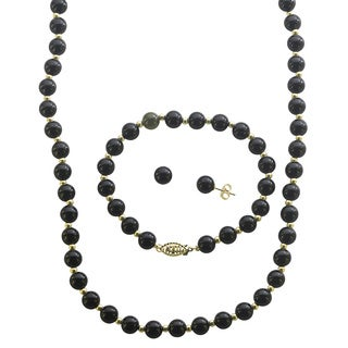 10k Yellow Gold Black Onyx and Gold Bead 3-piece Jewelry Set