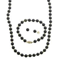 10k Yellow Gold Black Onyx and Gold Bead 3-piece Jewelry Set