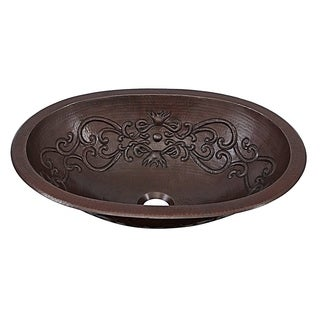 "Sinkology Pauling 19"" Dual Mount Handmade Pure Solid Copper Sink with Scroll Design"