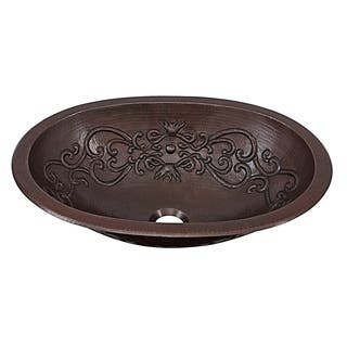"Sinkology Pauling 19"" Dual Mount Handmade Pure Solid Copper Sink with Scroll Design