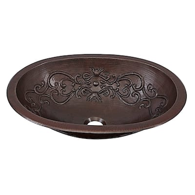"""Sinkology Pauling 19"""" Dual Mount Handmade Pure Solid Copper Sink with Scroll Design"""