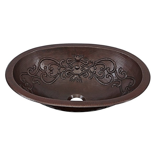 """Sinkology Pauling 19"""" Dual Mount Handmade Pure Solid Copper Sink with Scroll Design. Opens flyout."""