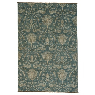 Handmade Denim Blue Transitional Oriental Rug (5'5 x 8'1)