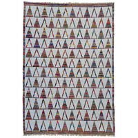 Handmade Durie Kilim Oriental Cotton and Sari Silk Rug - Multi-color