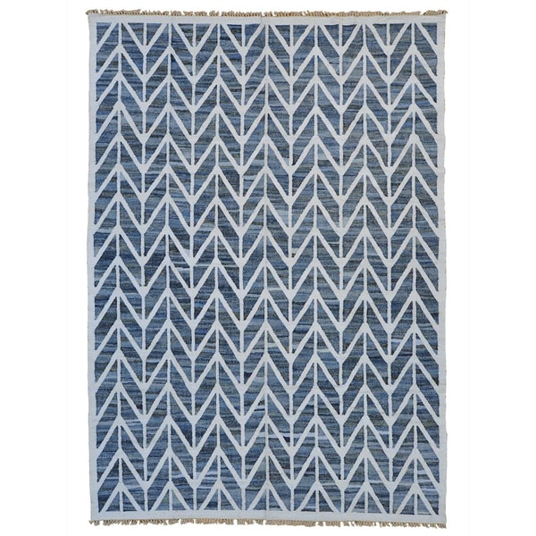 Handmade Durie Kilim Flat Weave Oriental Denim Jeans Rug - 9'7 x 13'9