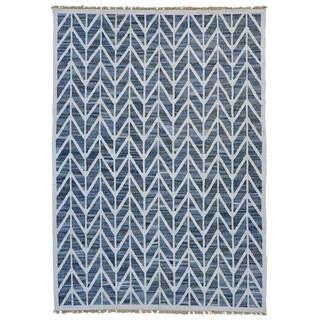 Handmade Durie Kilim Flat Weave Oriental Denim Jeans Rug (9'7 x 13'9)