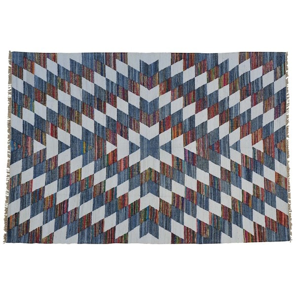 Handmade Cotton and Sari Silk Durie Kilim Oriental Rug - Multi-color