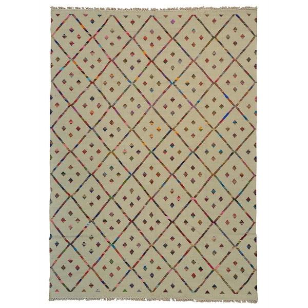 Handmade Cotton and Sari Silk Durie Kilim Oriental Rug - 10'1 x 14'3