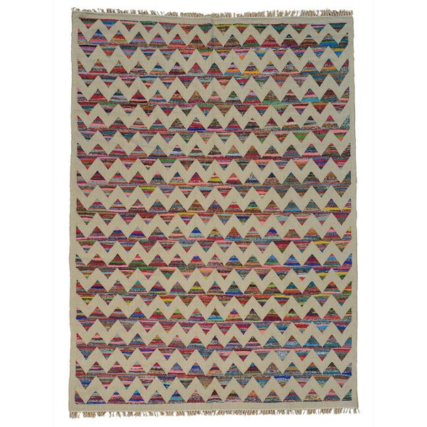 Handmade Durie Kilim Cotton and Sari Silk Oriental Rug - Multi-color