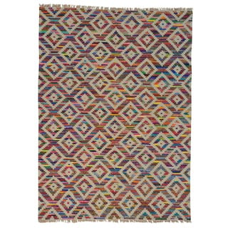 Handmade Wool and Sari Silk Durie Kilim Oriental Rug (8'8 x 12')