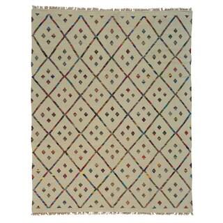 Handmade Flat Weave Cotton and Sari Silk Durie Kilim Oriental Rug (9' x 11'7)