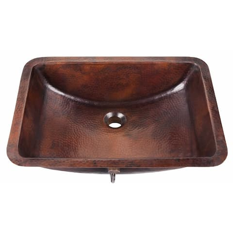 """Sinkology Curie 21"""" Undermount Bath Sink with Overflow in Aged Copper"""