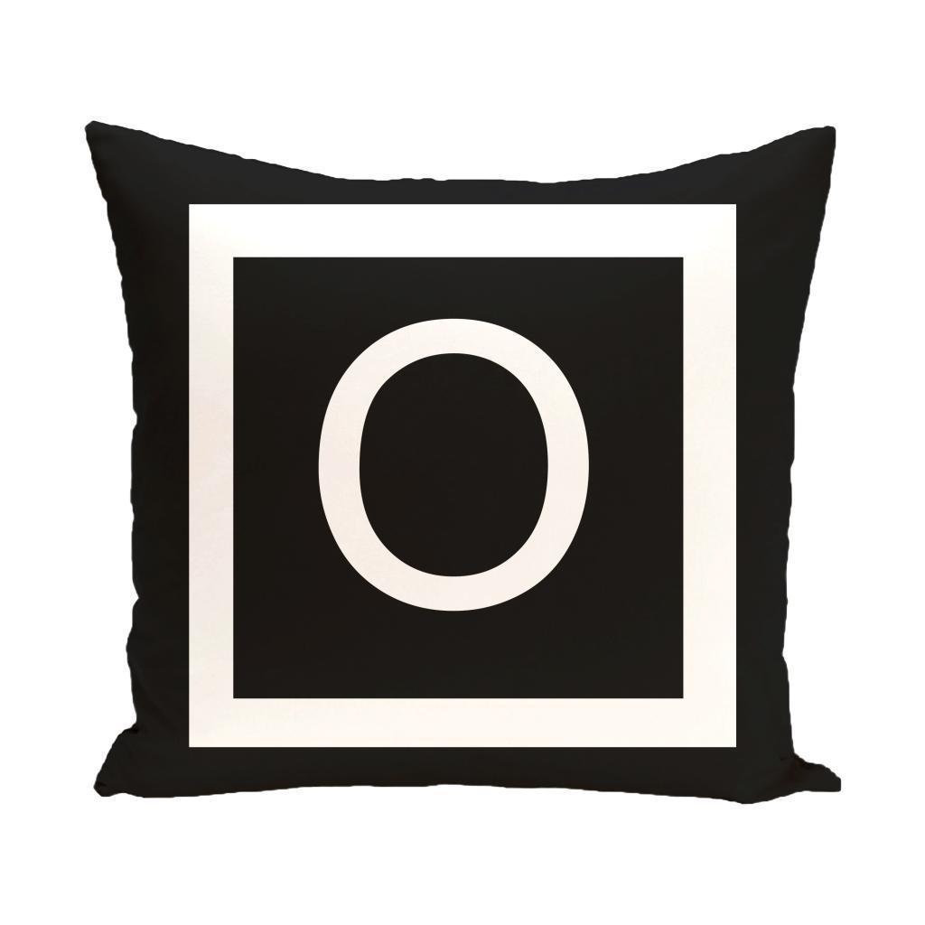 Black And White 20 X 20 Inch Monogram Print Decorative Pillow