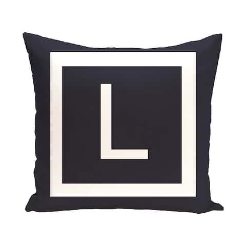 Blue and White 20 x 20-inch Monogram Print Decorative Pillow