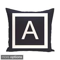 Blue and White 18 x 18-inch Monogram Print Decorative Pillow