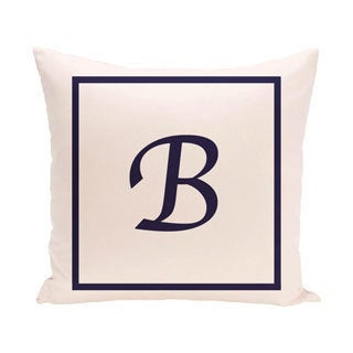 Ivory 26 x 26-inch Monogram Print Decorative Pillow