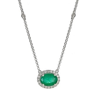 Anika and August 14k White Gold Oval-cut Emerald 1/5ct TDW Diamond Necklace (G-H, I1-I2)