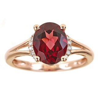 Anika and August 14k Rose Gold Oval-cut Rodholite Diamond Accent Ring (Size 7)