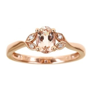 Anika and August 10k Rose Gold Oval-cut Morganite Diamond Accent Ring
