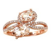 Anika and August 14k Rose Gold Oval-cut Morganite 1/3ct TDW Diamond Ring (G-H, I1-I2) (Size 7)