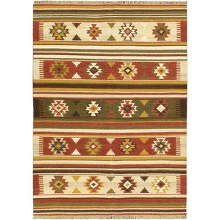 Ecarpetgallery Izmir Kilim Orange Wool Geometric Kilim Rug (5'7 x 7'10)